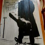 Cuadro de Johnny Cash en madera de pallet